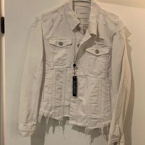 Distressed white jean jacket. Never worn.